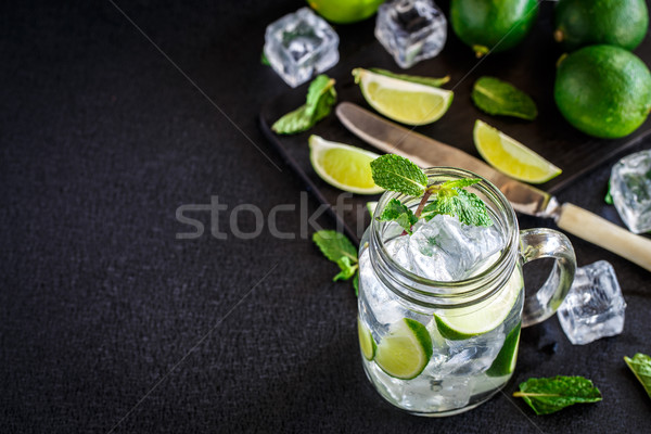 Drink with lime, mint and ice Stock photo © vankad