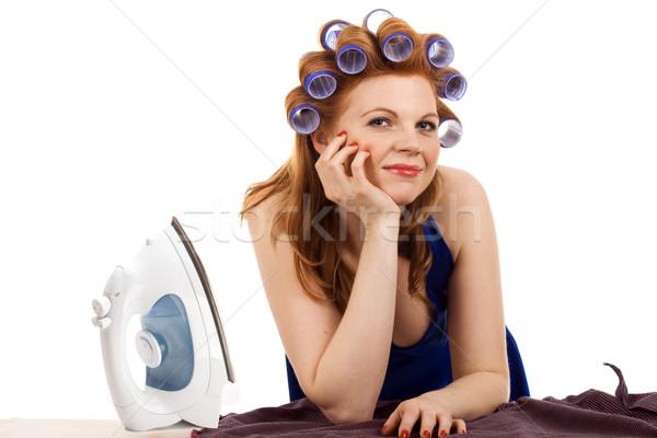 Lui huis vrouw niet ijzer shirt Stockfoto © vankad