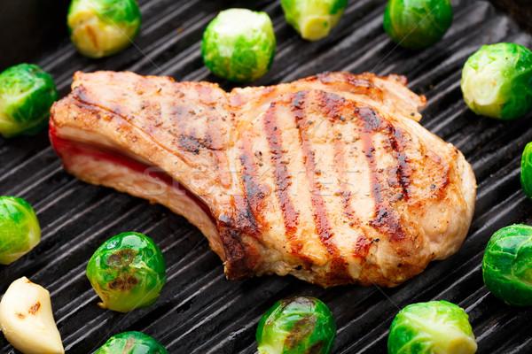 Grelhado carne de porco Bruxelas delicioso carne Foto stock © vankad
