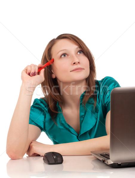 Ritratto donna d'affari seduta desk pen Foto d'archivio © vankad