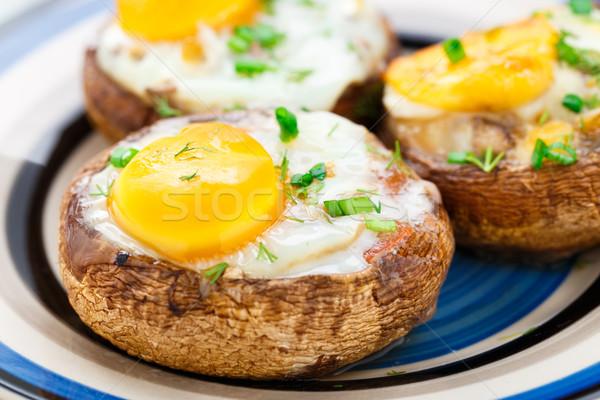 Stock photo: Stuffed mushrooms with eggs