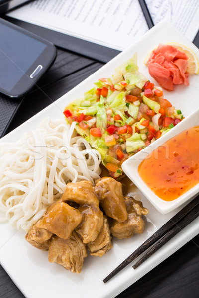 Quick asian style lunch in office Stock photo © vankad