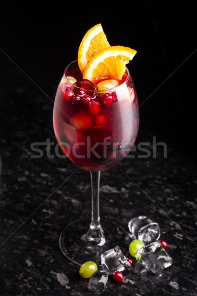 Delicious cocktail with cranberries and grapes Stock photo © vankad