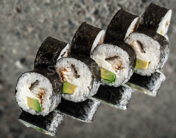 Sushi roll with eel and cream cheese Stock photo © vankad