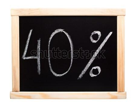 Kırk yüzde yazılı tahta 40 beyaz Stok fotoğraf © vankad