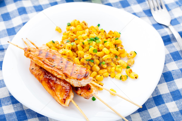 Сток-фото: меда · куриные · гриль · кукурузы · Салат · пластина