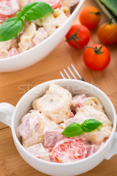 Tortellini ensalada tomates puerro jamón alimentos Foto stock © vankad