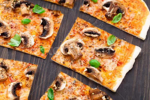 Vegetarian pizza with mushrooms Stock photo © vankad