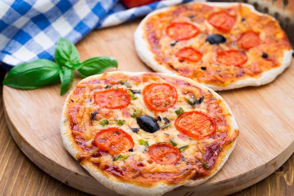 Foto stock: Vegetariano · mini · pizza · tomates · cereja · páprica · azeitonas