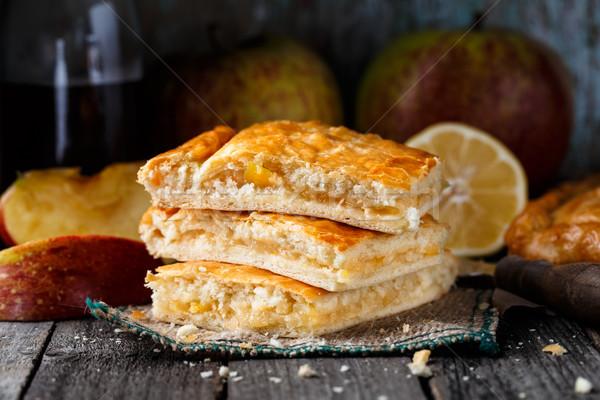 Eigengemaakt taart gevuld appels citroen heerlijk Stockfoto © vankad
