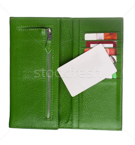 Open groene leder portemonnee creditcards een Stockfoto © vankad