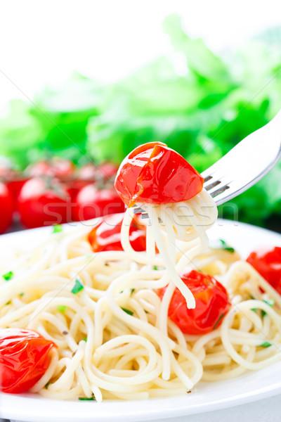 Spaghetti pomodori erbe forcella cena Foto d'archivio © vankad