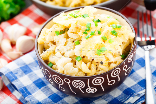 Macaroni kaas heerlijk gebakken diner pasta Stockfoto © vankad