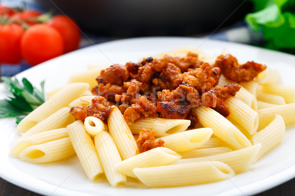 Pasta with bolognese sauce Stock photo © vankad