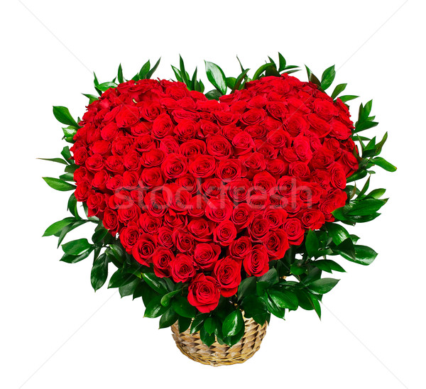 сердце букет красные розы изолированный белый Сток-фото © vankad