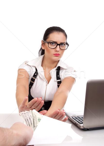 Woman rejecting money in envelope Stock photo © vankad