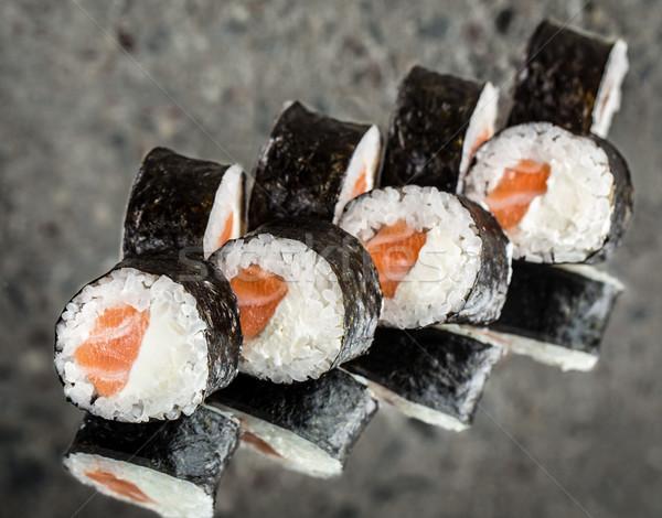 суши катиться лосося кремом сыра текстуры Сток-фото © vankad