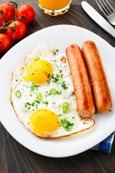 Stock photo: Fried eggs with sausages.