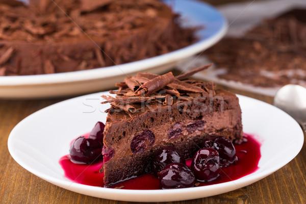 Mus czekoladowy ciasto ciemne wiśni owoców Zdjęcia stock © vankad