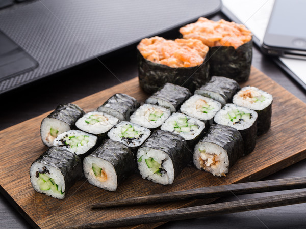 Quick sushi lunch in the office Stock photo © vankad