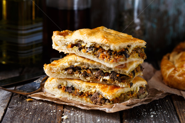 Homemade pie stuffed with liver Stock photo © vankad