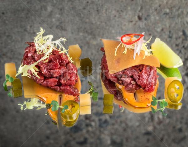 Fresh beef tartar Stock photo © vankad