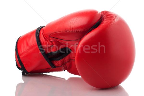 красный кожа боксерская перчатка изолированный белый Сток-фото © vankad