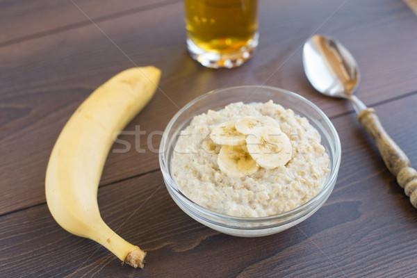 Avena plátano tazón alimentos naturaleza desayuno Foto stock © vankad