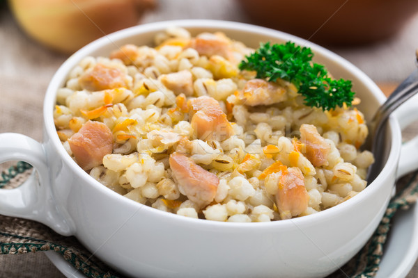 Barley porridge with pork Stock photo © vankad