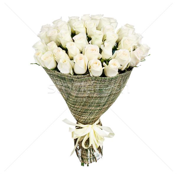 букет белый роз изолированный свадьба закрывается Сток-фото © vankad