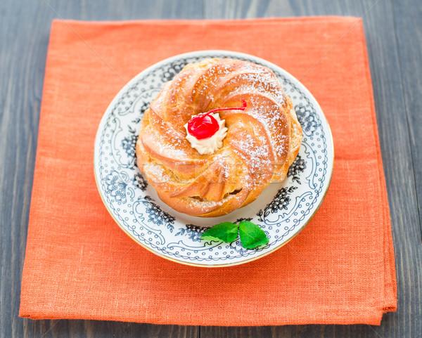 ストックフォト: ケーキ · プレート · 桜 · オレンジ · 表