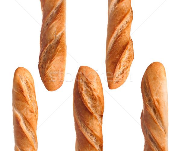 Francia kenyér francia kenyér öt francia bagettek izolált Stock fotó © vankad
