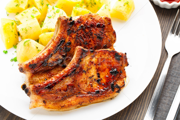 Fried pork loin with potato Stock photo © vankad