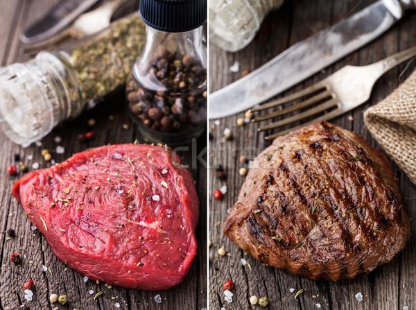 生 焼き ビーフステーキ 木板 スパイス 食品 ストックフォト © vankad