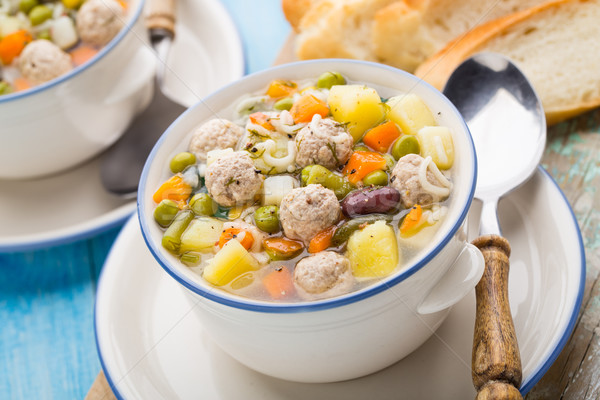 Meatball soup with vegetables Stock photo © vankad