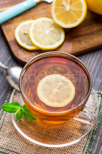 Cup of tea with mint and lemon Stock photo © vankad