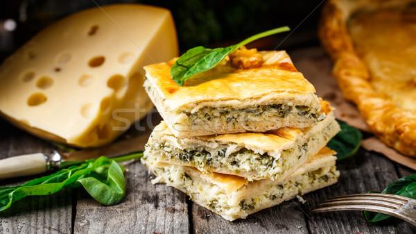 домашний пирог фаршированный сыра шпинат Сток-фото © vankad