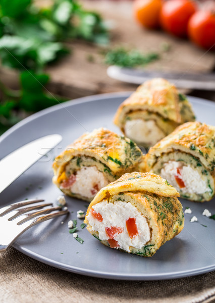 Omelette rolls with curd Stock photo © vankad
