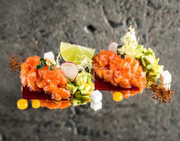 Fresh salmon tartar Stock photo © vankad