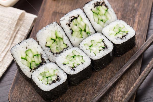 Sushi salatalık susam gıda Stok fotoğraf © vankad