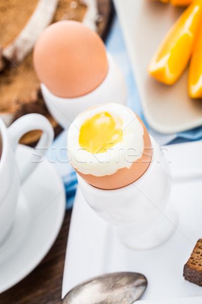 Puha főtt tojás reggeli narancsok étel gyümölcs Stock fotó © vankad