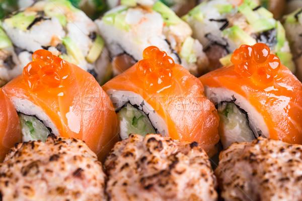 Sushi salmão caviar vermelho Foto stock © vankad