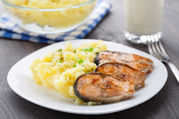 Mashed potatoes with fried salmon Stock photo © vankad