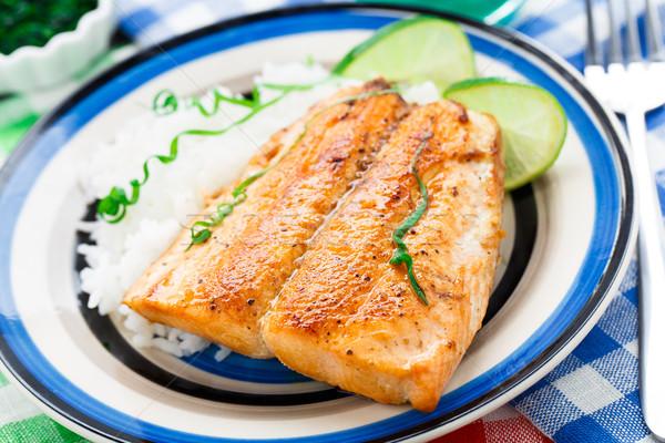 Foto stock: Salmão · arroz · prato · tabela · jantar