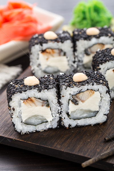Sushi rolls with eel and creamcheese Stock photo © vankad