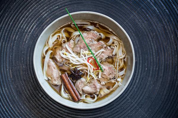 Makaron zupa wołowiny ciemne żywności biały Zdjęcia stock © vankad