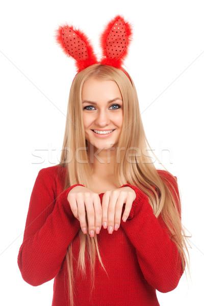 Zdjęcia stock: Piękna · młoda · kobieta · bunny · kłosie