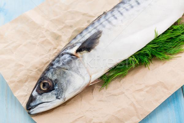 Fresh mackerel stuffed with dill Stock photo © vankad