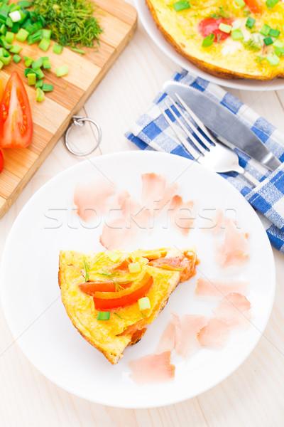 Zöldségek prosciutto friss zöldségek tányér étel tojás Stock fotó © vankad