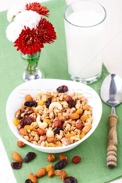 Healthy muesli breakfast with huts and raisin Stock photo © vankad